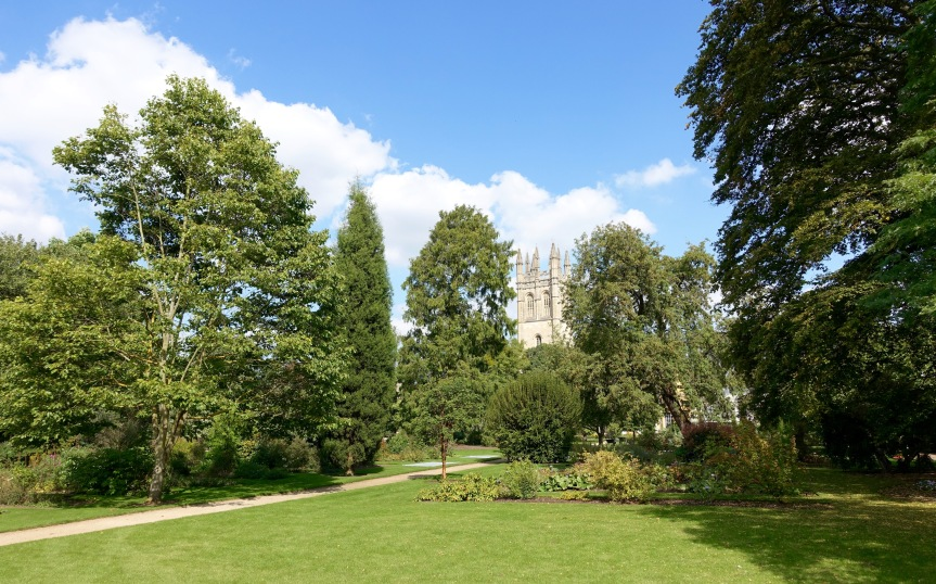 The Botanic Garden with Magdalen College in the background.