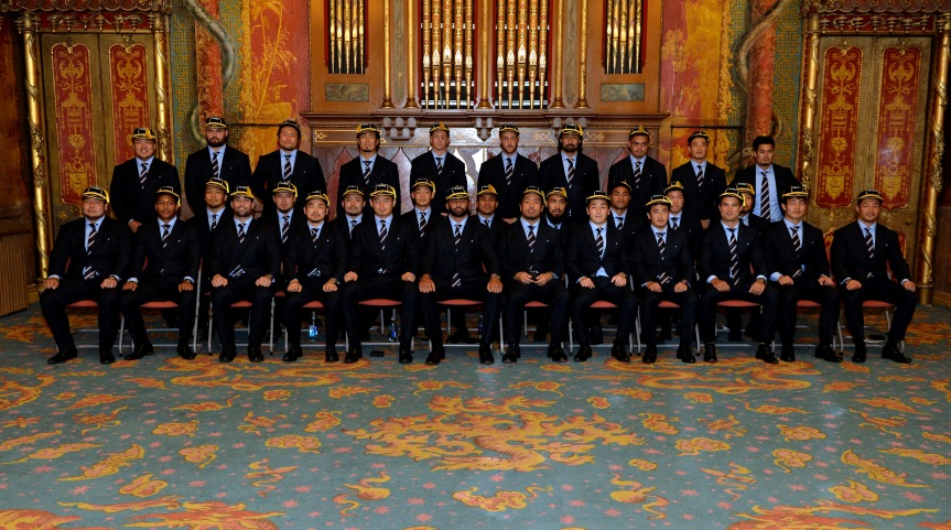 Japan World Cup team attends welcoming ceremony at Brighton Dome.  (Photo by Anthony Harvey/Getty Images for ER2015)