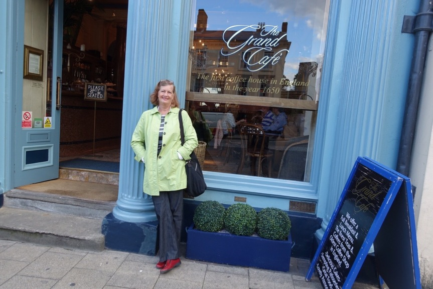 Kathy at The Grande Cafe, which claims to be the first coffee house in England.