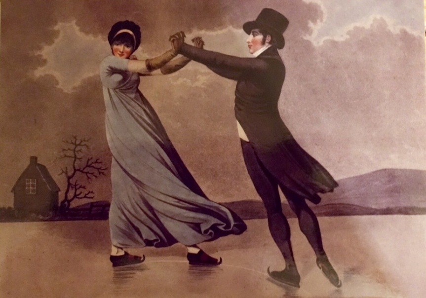 A print of skaters from a painting by Adam Buck.