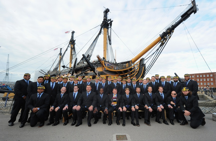 PORTSMOUTH, ENGLAND - SEPTEMBER 13:  The USA Eagles in front of the HMS Victory.  (Photo by Eamonn M. McCormack/Getty Images for ER2015)