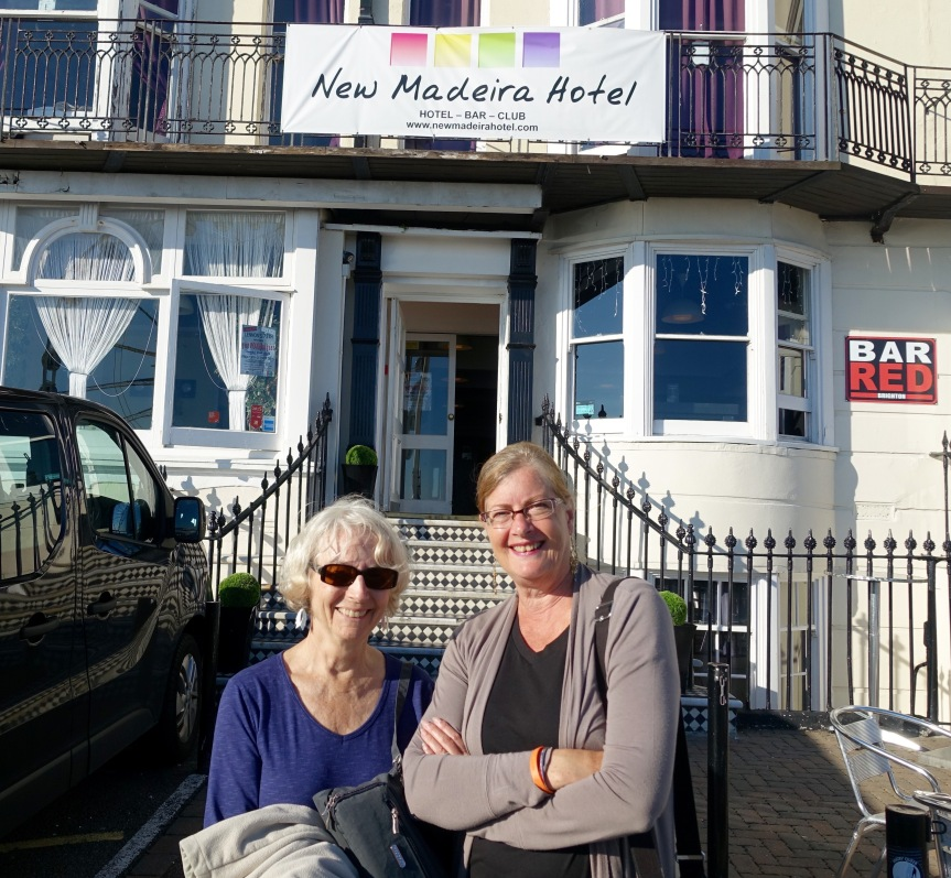 Trish and Kathy in front of our hotel in Brighton.