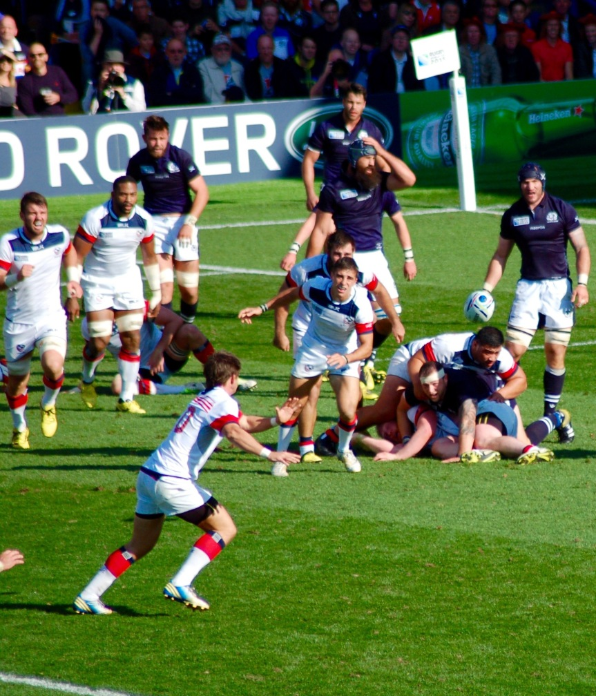 Titi Lamositele of Bellingham is on top of the loose ruck as the United States has the ball out against Scotland
