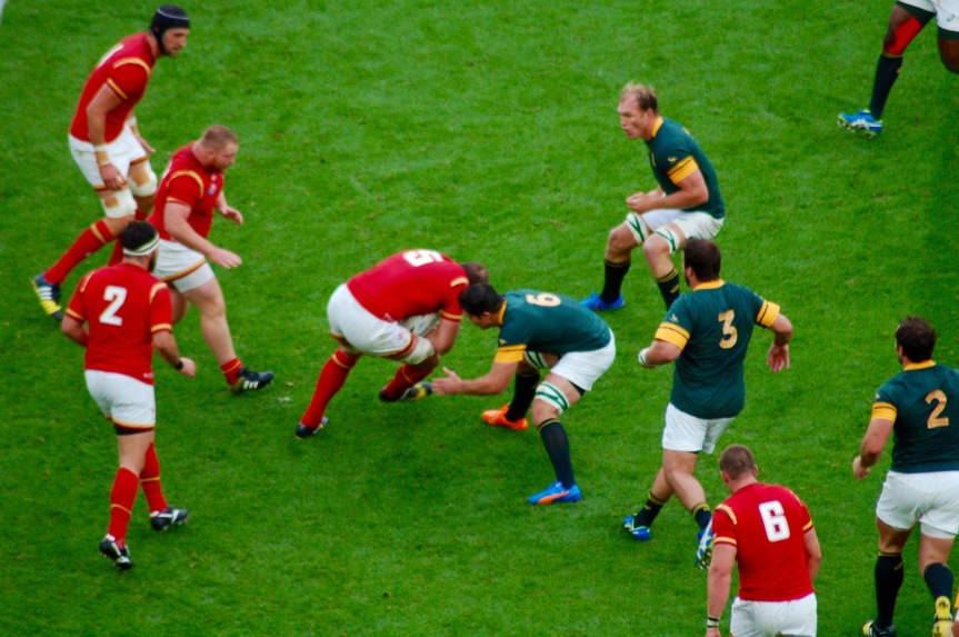 Alun Wyn Jones drives against South Africa.
