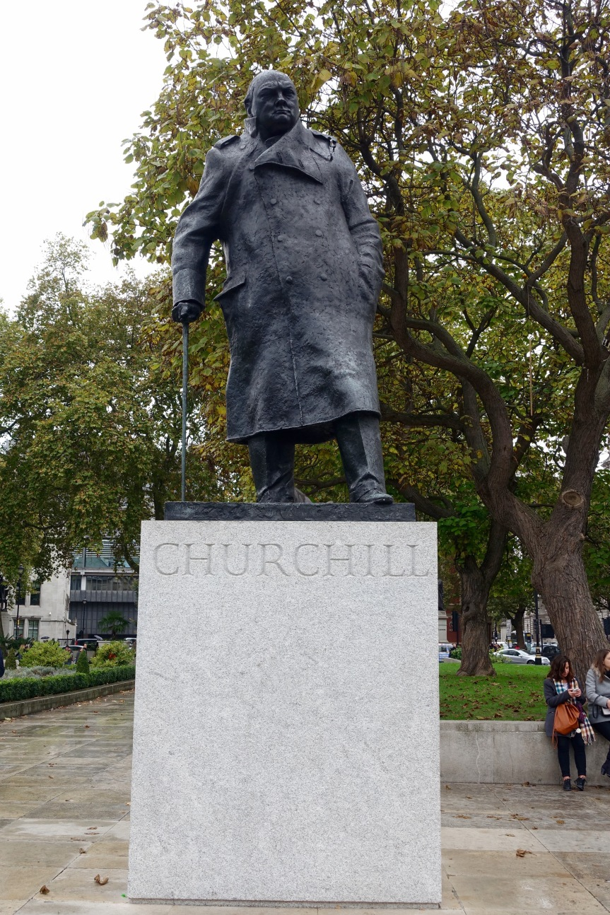 This statue of Churchill is near the Churchill Museum and Imperial War Rooms.
