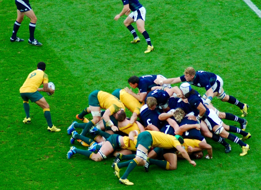 The Australia scrum has collapsed but they had the ball out in time to keep their movement alive.