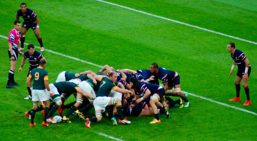 The U.S. scrum collapses for the third time and South Africa is awarded a penalty try.