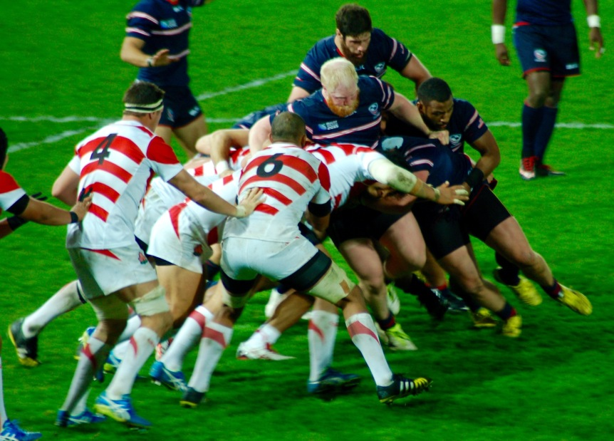 Japan's forwards were able to push the U.S. pack around.