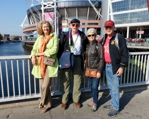 Kathy, John, Tina and David outside Millennium Stadium in Cardiff.