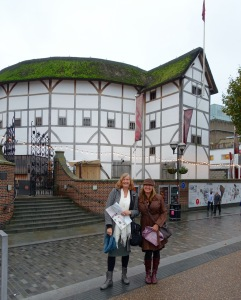 Kathy and Cyndi in front of the Globe Theater.