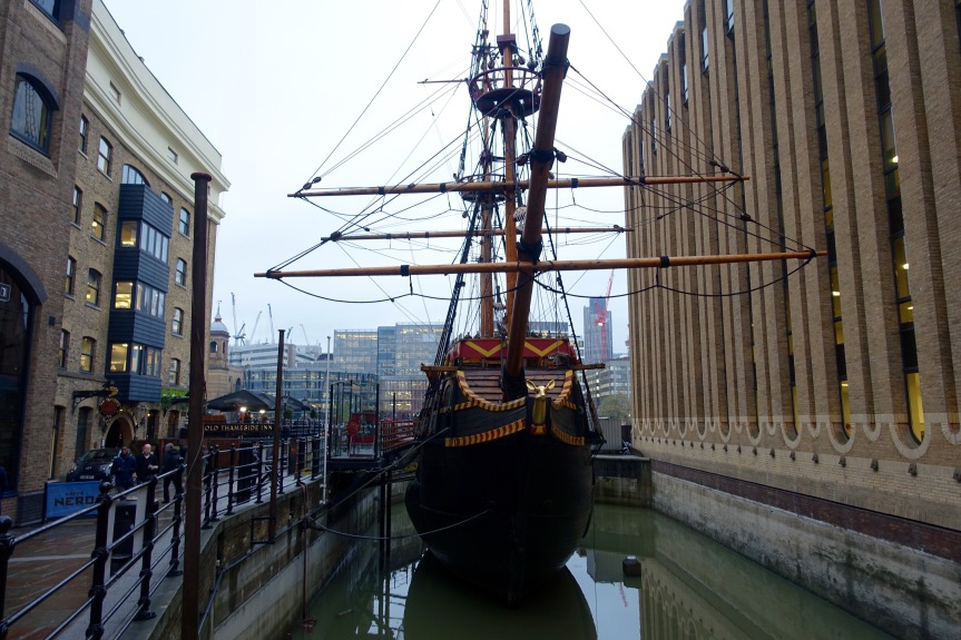 A replica of the Golden Hinde, Sir Francis Drake's ship.