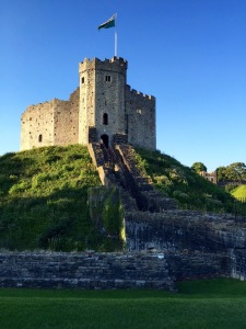 The keep sits atop the motte overlooking the moat.
