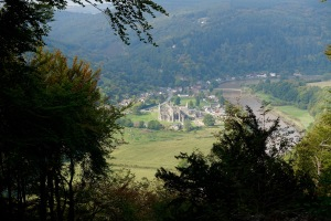 The view of Tintern Abbey from Devil's Pulpit.