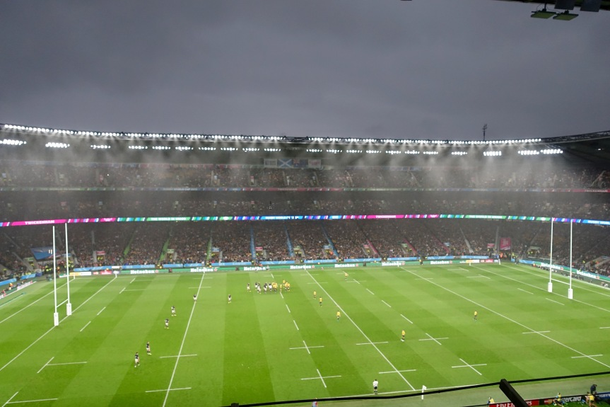 What's rugby without rain? It fell at Twickenham on Sunday 71 minutes into the game.