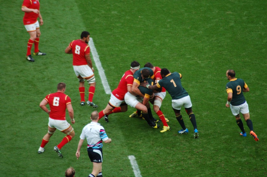 South Africa forwards secure the ball against Wales.