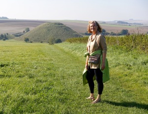 Kathy with Silbury Hill in the background.