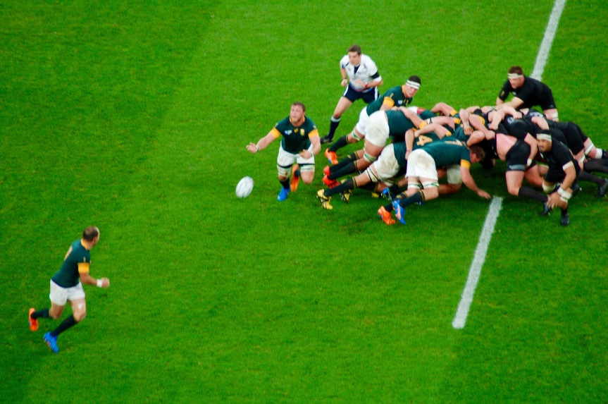 South Africa has good ball out from their scrum.
