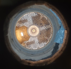 As you climb up to the top of the St. Paul's dome, there's one place where they let you take a photograph looking down to the cathedral floor.