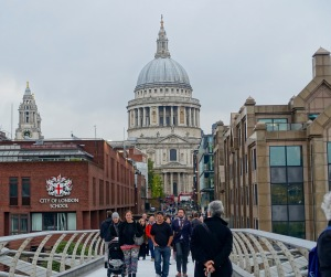 Looking back at St. Paul's from the Millennium Foot Bridge across the Thames.