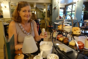 Kathy at high tea.