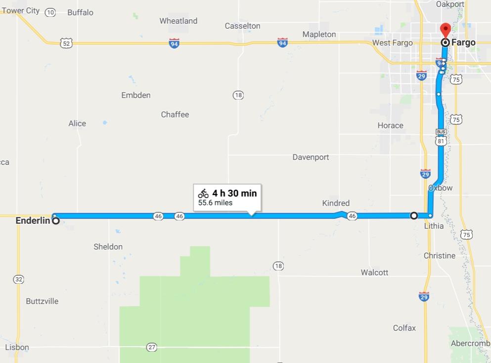 Enderlin to Fargo