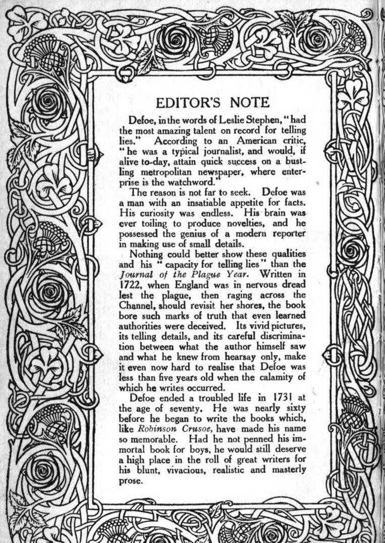 Defoe editor note